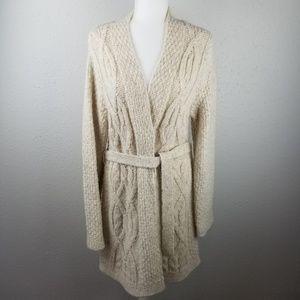 Loft - sz. L, long knit cardigan, sweater, neutral